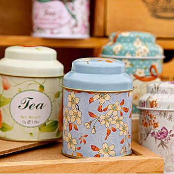 Random Color Candy Sealed Cans Box Flower Design Metal Sugar Coffee Tea Tin Jar Container 1PC Hot Sale