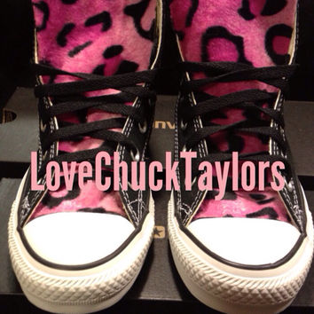 Custom Converse Faux Leopard Fur Pink  by LoveChuckTaylors on Etsy