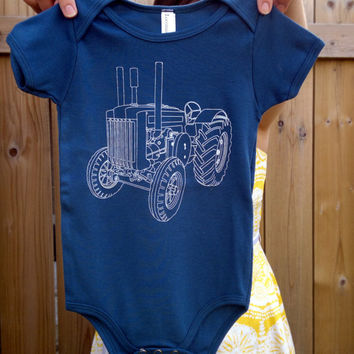Gift for Baby Boy // TRACTOR Onesuit - Organic Cotton Galaxy Blue Tractor Onesuit // Gift for Baby Boy