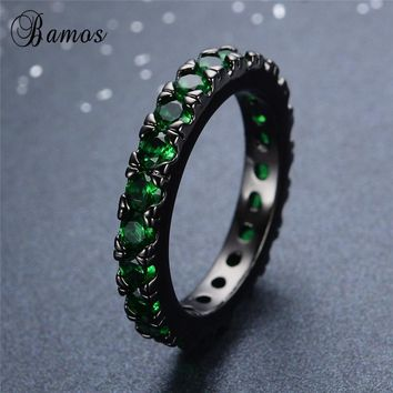 Bamos Trendy Green/Blue Cubic Zirconia Ring Hiphop Paved Couple Rings Black Gold Filled For Women Men Punk Statement Jewelry