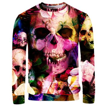 Men 3D Sweatshirts Colorful Flowers Skulls 3D Print Longsleeve Hoodies Harajuku Pullovers Tops