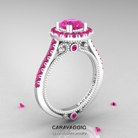 Caravaggio 14K Ceramic White Gold 1.0 Ct Pink Sapphire Engagement Ring, Wedding Ring R621-14KCWGPS