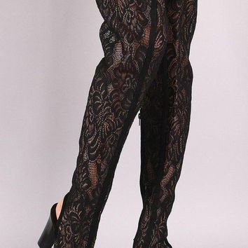 LMFIW1 Bamboo Floral Lace Peep Toe Chunky Heeled Over-The-Knee Boots