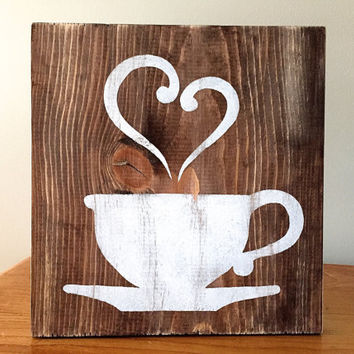 Rustic Wall Decor Kitchen Decor Coffee Decor Tea Decor Coffee Cup