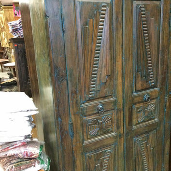 Indian Armoire Teak Britsh Colonial Cabinet Bedroom Almira Furniture