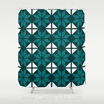 "Geometric Flower Pattern Shower Curtain 71""x74"" Decorative Bath Tub Room Bathroom Interior Decor Modern Emerald Green White Teal Traditional"