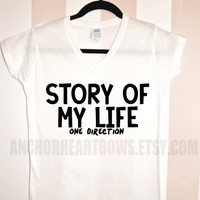 One Direction Story of my Life V-Neck Shirt Zayn Malik Harry Styles Niall Liam Louis 1D Hipster #