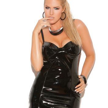 Plus Size Vinyl Halter Mini Dress