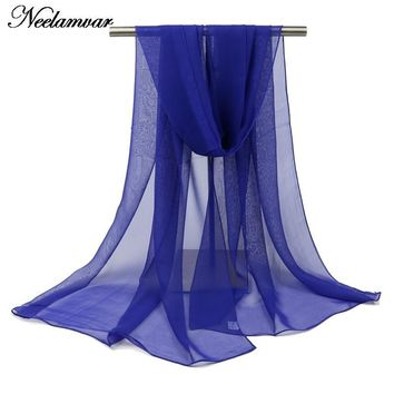 Neelamvar NEW women solid scarf ladies shawl thin long soft hijab and echarpe pashmina scarves luxury brand wholesale