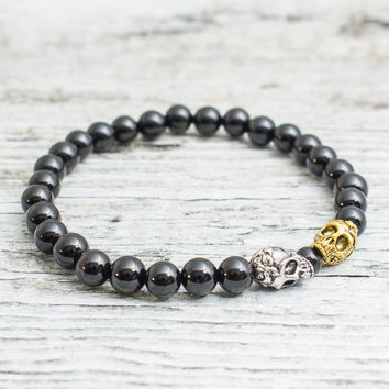 Black onyx beaded stretchy silver & gold skull bracelet, custom made yoga bracelet, mens bracelet, womens bracelet