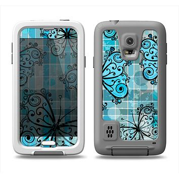 The Vibrant Blue Butterfly Plaid Samsung Galaxy S5 LifeProof Fre Case Skin Set