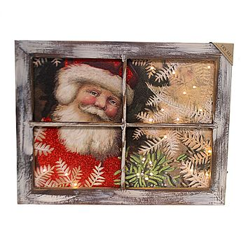Christmas SANTA LED WINDOW SIGN Wood Timer Battery Powered 30315