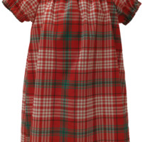 Plaid Short Sleeve Peasant Dress