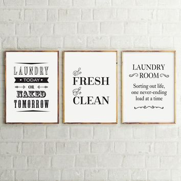 Laundry Room Wall Art Decor Life Canvas Print And Poster , Laundry Sign Canvas Painting Home Laundry Room Modern Decoration