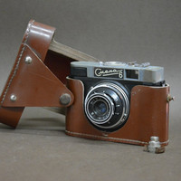 Vintage Smena 6 Leather Case Lomo Working Camera Case Travel Camera Brown Case Soviet USSR Camera 1970