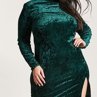 Plus Size Crushed Velvet Shift Dress