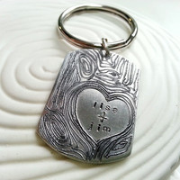 Personalized Keychain- Wood Grain Personalized Engraved Dog Tag