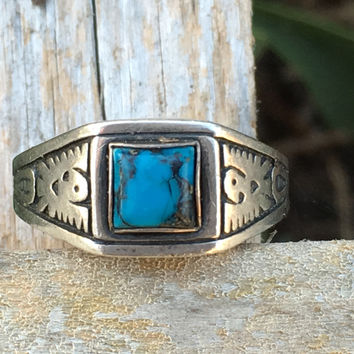 Turquoise Thunderbird Ring Sterling Silver