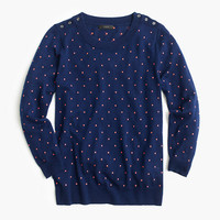 J.Crew Womens Polka-Dot Tippi Sweater With Shoulder Buttons