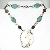 Long Bead Necklace – turquoise, river rock, howlite, beaded stone jewelry