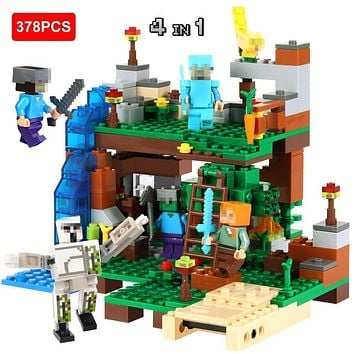 378pcs DIY Model Building Blocks Compatible Legoed Minecrafted City Sets Animal Action Figures 4 in 1 Kids Educational Toys