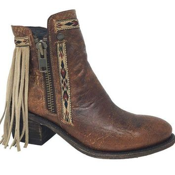 LMFYW3 Corral Brown Fringes J Toe Ankle Boots