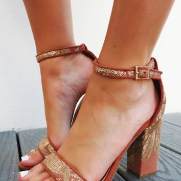 Show Me Love Heels: Terracotta/Gold