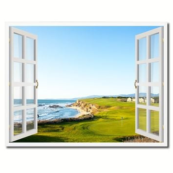 Halfmoon Bay California Golf Course Picture French Window Framed Canvas Print Home Decor Wall Art Collection