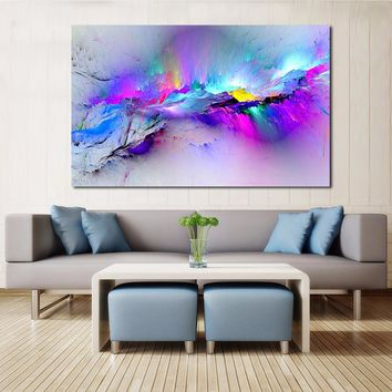 QCART Wall Pictures For Living Room Abstract Oil Painting Clouds Colorful Canvas Art Home Decor No Frame