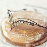 Fairy tiara  oxidized antiqued hammered copper and by SabiKrabi