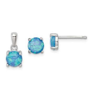 Sterling Silver Blue Opal Pendant & Earrings Set