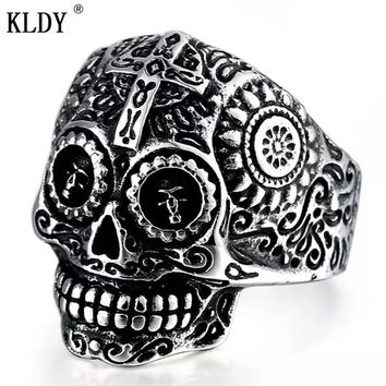 KLDY Skull Rings Hot Men's Punk Style Flower Skull Biker Ring Fashion Skeleton Jewelry 316L Stainless Steel Male Finger Rings