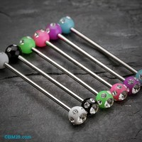 Acrylic Aurora Gem Ball Industrial Barbell