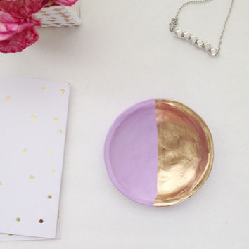 Purple and Gold Jewelry Dish/Lilac and Gold Jewelry Dish/Pastel Purple Jewelry Dish