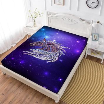 Cool Multi-Color Horse Print Bed Sheet 3D Galaxy Animal Fitted Sheet White Purple Bedsheet King Queen Elastic Band Mattress Cover D40AT_93_12
