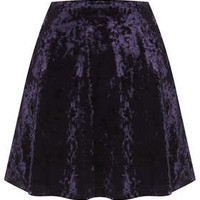 Blue Crush Velvet Skater Skirt - Midnight Blue