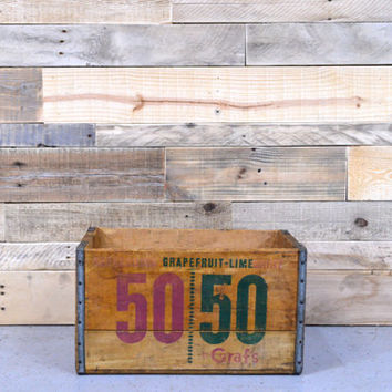Vintage Wood Crate, 50/50 Soda Crate, GRAFS, Milwaukee, Wisconsin, Wood Soda Crate, Wood Box