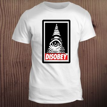 Disobey Anonymous Illuminati Eye Swag Hipster Vendetta Conspiracy Urban T Shirt 2018 Men T-Shirt Fashion