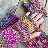 Hand Crocheted Multi-colored Texting Gloves, Fingerless Gloves, Crochet Arm Warmers, Imported Italian cotton blend yarn, Boho Wrist Warmers