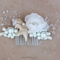 Hair Floral Pin. Beach Wedding Comb, Seashell Starfish Pearls Crystals & Flowers Hair Comb