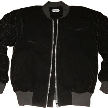 Reves Paris Onyx Black Velour 2.0 Bomber Jacket In Black