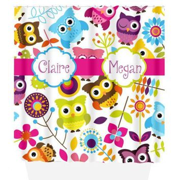 Owl SHOWER CURTAIN, Shared Girl Bathroom, Colorful Owl Theme, Custom MONOGRAM, Personalized Girl Decor, Sister Bath, Bath Towel Bath Mat
