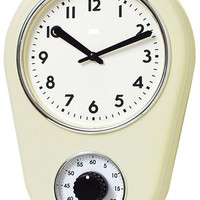 "0-007608>12""h Retro Kitchen Timers Clock Ivory"