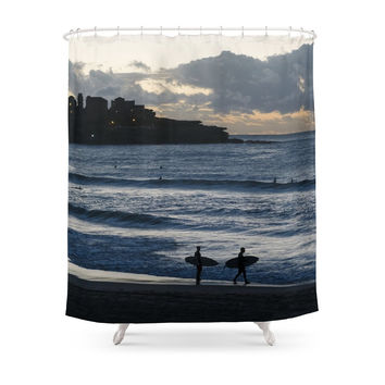 Society6 Morning Surfers On Bondi Beach Shower Curtains