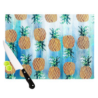 "Nikki Strange ""Pineapple Beach"" Blue Brown Cutting Board"