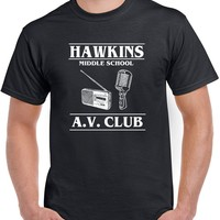538 Hawkins Middle School AV Club mens T-shirt stranger tv show things costume