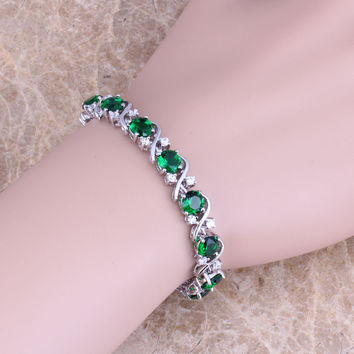Green Emerald White Cubic Zirconia 925 Silver Plated Bracelets