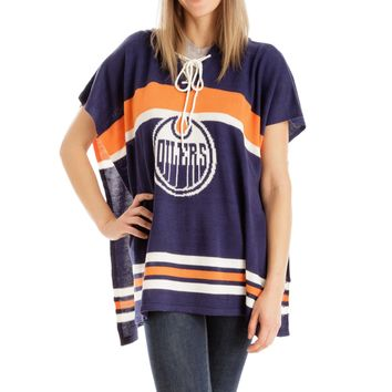Edmonton Oilers NHL Stylish Knitted Cowl Hood Poncho (One Size Fits Most)
