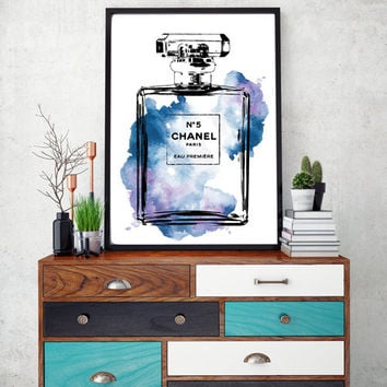 24x36 inches Chanel No5 poster, blue water color, digital print, Chanel Print, Fashion illustration, Perfume, No5, Coco chanel poster, No5