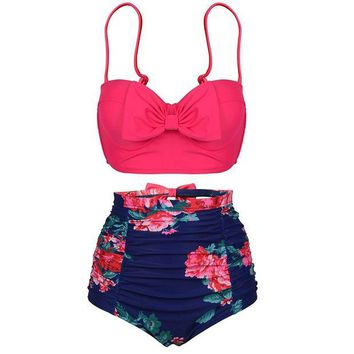 DCCKUG3 PZZ Women's Push up Cute Bowknot Bikini High Waist Retro Flower Printing Bottom Two Pieces Swimwear Bathing Suits